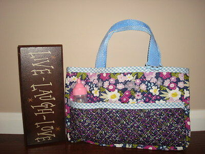 Handmade Quilted Doll Diaper Bag Tote ~ American Girl ~ Bitty Baby Purple Pink