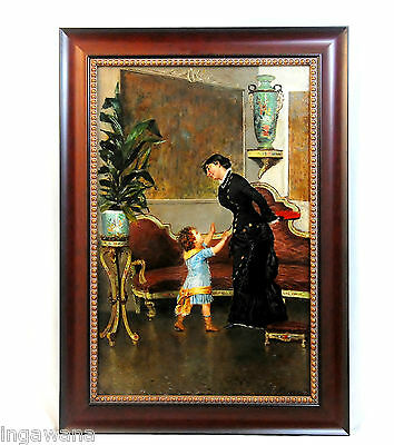 *SIGNED* 19TH C., MOTHER & CHILD OIL ON BOARD OUTSTANDING QUALITY AND DETAIL