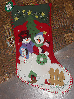 SEASON'S DESIGNS Felt Snowman Couple CHRISTMAS STOCKING  NEW 19""