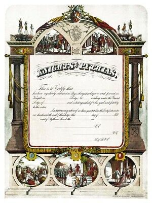 Rare 1886 Knights of Pythias membership Print Art Poster ring KP