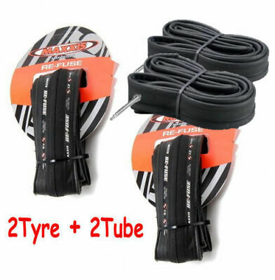2 X Maxxis Re-Fuse Folding Road Bike Tyre 700 X 28C Refuse + 2X Tube