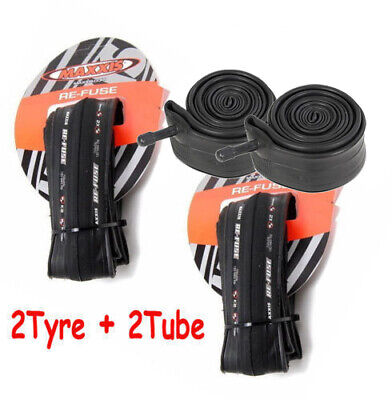 2 X Maxxis Re-Fuse Folding Road Bike Tyre 700 X 25C Refuse + 2X Tube