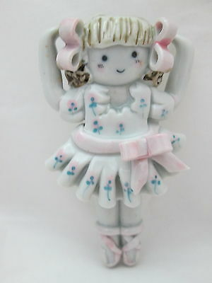Ceramic Doll Pin / Brooch - Ballerina White with Pink