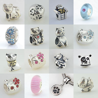Sterling Silver 925 European Charm I Love My Kitty Cat Kitten Paws Bead