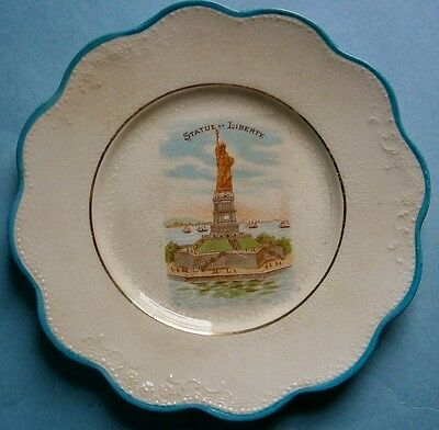 Early Statue of Liberty Souvenir Plate by Harker Pottery Co., Ohio
