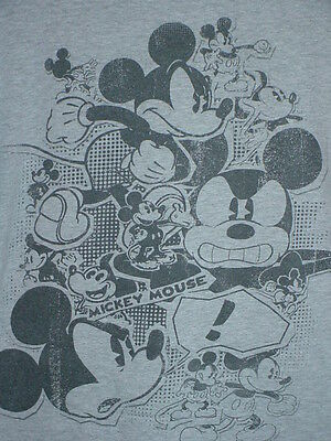 DISNEY MICKEY MOUSE SKETCHES, MANY VERSIONS GRAY T SHIRT COTTON L LARGE MEDIUM