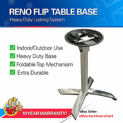 Meeting Cafe Table Base, Reno Flip Top Folding Tables Pedestal Chrome Silver