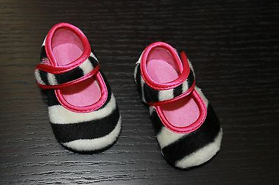 NEW Baby Bella Maya Boutique Booties Zoe Zebra Ballet Flat Crib Shoes 0-3m 6m