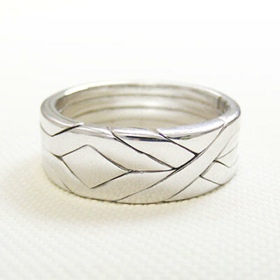 (SOLID) Unique Puzzle Rings - Sterling Silver - Any Size