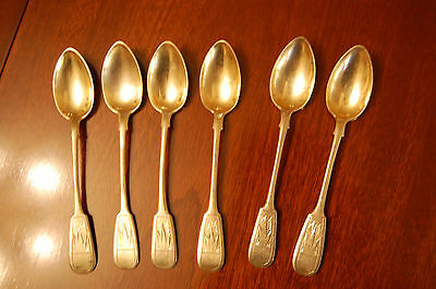 Imperial Russian  Silver Teaspoons - Set of 6 with date mark 1895. 84zl