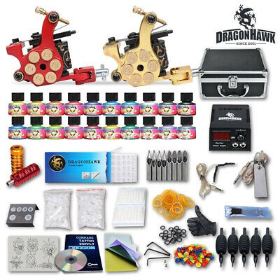 Tätowierung Komplett Tattoo Kit Set 2 Tattoomaschine 40 inks Koffer 50 Nadeln