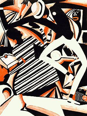 Art Print Painting Drawing African American Jazz Two Tone Reiss Colour Nofl0926
