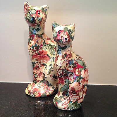 Vintage Pair of Ceramic Decoupaged Yellow Floral Kitty Cats