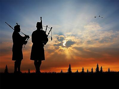 ART PRINT POSTER PHOTO MOCK UP SILHOUETTE SUNSET TRIO SCOTTISH PIPERS LFMP0758