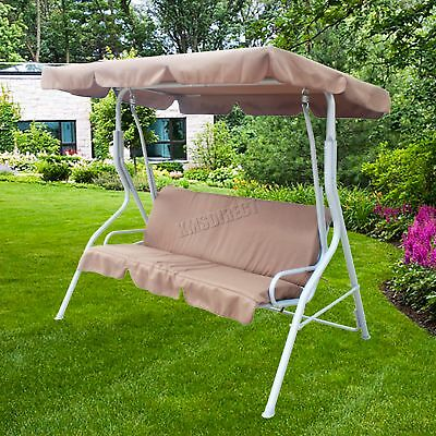 FoxHunter Brown Garden Metal Swing Hammock 3 Seater Chair Bench Outdoor FHSC01