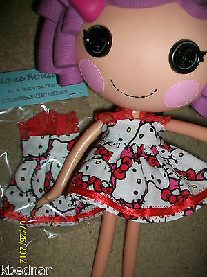 HandMade Black White RED HELLO KITTY Dress Clothes 4 LALALOOPSY Doll