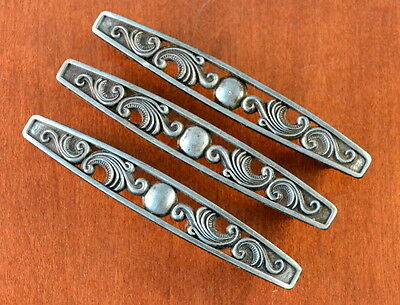 "Set of 3 Vintage BRUSHED Silver Scrolled Style Furniture Pull Holes 3"" Apart"