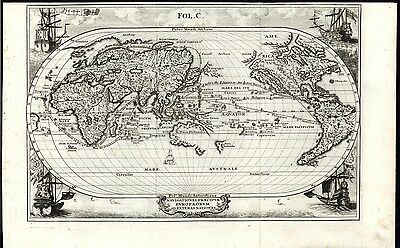 California as Island Oval World 1700 by Scherer Decorative wonderful antique map