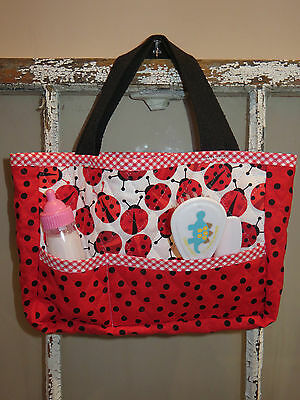 Handmade Quilted Doll Diaper Bag Tote ~ American Girl ~ Bitty Baby ~ Red Ladybug