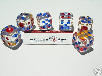 CLEAR ACRYLIC DICE w/ COLORED PIPS (22mm) 6 TOTAL BUNCO