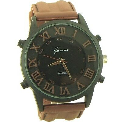 Geneva Sport style Quartz Watch for men Rome numbers brown and black - 1