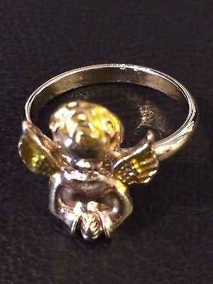 Vintage Gold Toned Christmas Ring With Angle