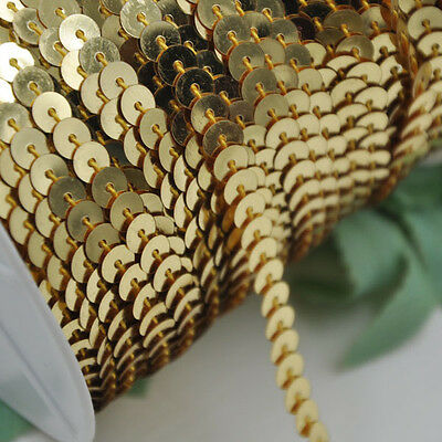 20Y Gold Beautiful Sequin Ribbon Trim Craft Sewing Trimming