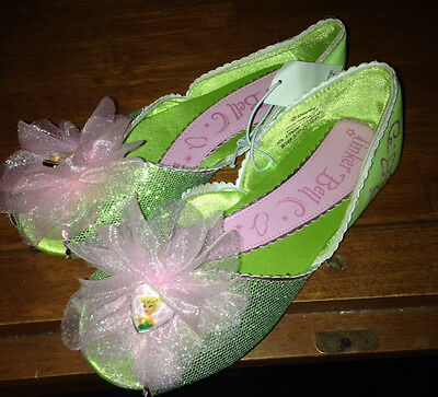 Disney Store Deluxe Tinkerbell Green Flower Shoes Size 2/3 Girls Fairy Dress Up