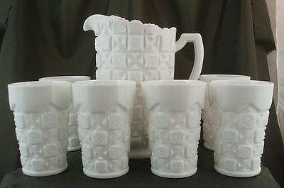 Westmoreland Old Quilt Milk Glass Water Set - Pitcher and Tumblers