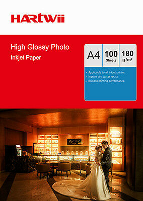 Hartwii 100 Sheets A4 180 G High Glossy Photo Paper For Inkjet  Paper Print UK