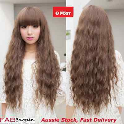 Stylish Fashion Women Lady Long Curly Wavy Hair Full Cosplay Party Wigs Brown