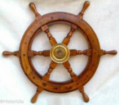 Wooden Ship Wheel 15 Inch ( pirate / boat / nautical / marine )