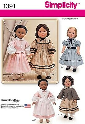 """SIMPLICITY 1391 CIVIL WAR COSTUME DRESS CLOTHES FOR 18"""" DOLL FITS AMERICAN GIRL"""