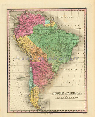 South American Continent Antique Map Finley 1833 Original