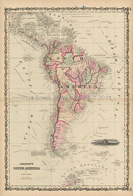 South American Continent Antique Map Johnson 1861 Original
