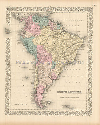South American Continent Antique Map Colton 1855 Original