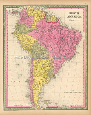 South American Continent Antique Map Mitchell 1846 Original