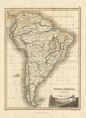 South America Antique Map Wyld 1827 Original
