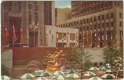 Flags Of The Nations - Statue Of Prometheus - Rockefeller Plaza- NYC - 1957