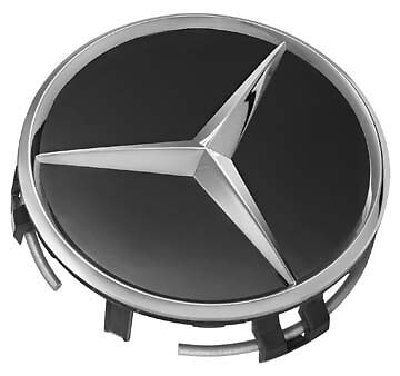 New Genuine OEM Mercedes Benz Black w/ Chrome Center Insert Cap + Warranty