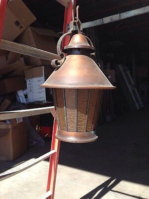 Antique Heavy Copper With Stained Glass Textured Panels Pendant Light Lt 37