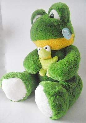 """Frog Holding Baby Froggy 16"""" Tall Plush Soft Cuddly Stuffed Animal Doll Toy New"""