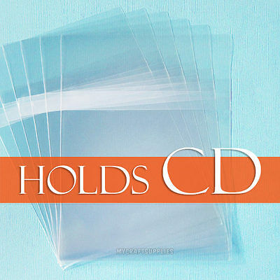 """100 Clear Cello Bags,4 7/8"""" x 4 7/8"""" inch Square (CD/DVD) Sleeves; BODY adhesive"""