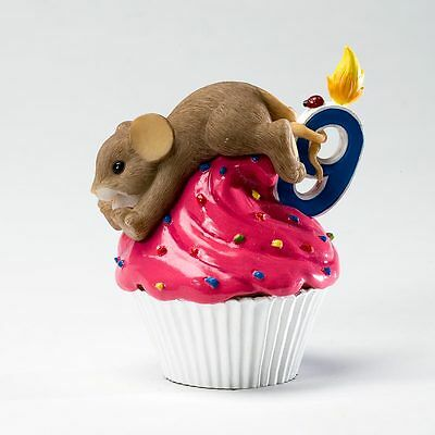 Charming Tails Happy Birthday Cupcake Year 9 Mouse Figure NEW NIB 4020639 Enesco