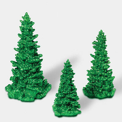 Dept 56 Green Glitter Pine Trees Set of 3 808996 D56 NEW Christmas Village