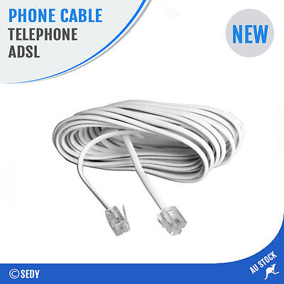 3m Telephone Line Phone Cable Extension Cord Wire Lead Plug ADSL RJ11 4 Pins