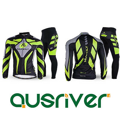 New Sports Cycling Bicycle Long Sleeve Jersey Jacket Pants Trousers Set Padded