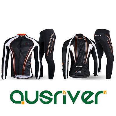 New Men Cycling Bicycle Bike Quick Dry Clothes Long Sleeve Jersey Pants Set Pad