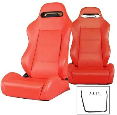 2 Red Pvc Leather Reclinable Racing Seats For All Acura + Sliders