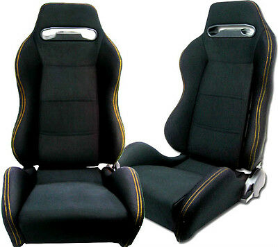 New 1 Pair Black Cloth + Yellow Stitch Racing Seats All Ford **